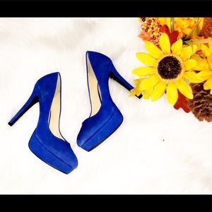GIANNI BINI Blue Suede Platform Heels